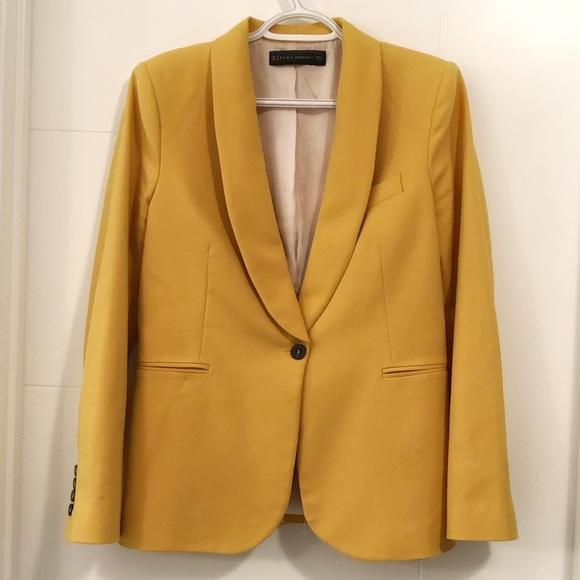 Zara Jackets & Blazers - Zara Woman single button yellow blazer